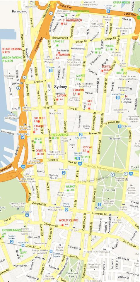 map of sydney cbd cark parks over 20m where you can fit your Ts in