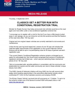 NSW Classic Registration Trial